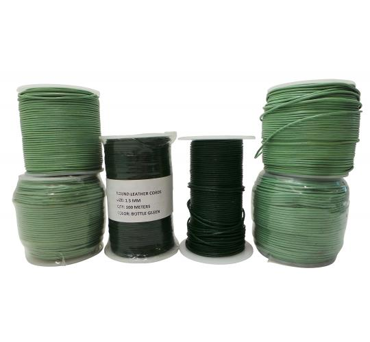 Joblot of 530m of Mixed Green High Quality Round Real Leather Cords 1.5mm Wide