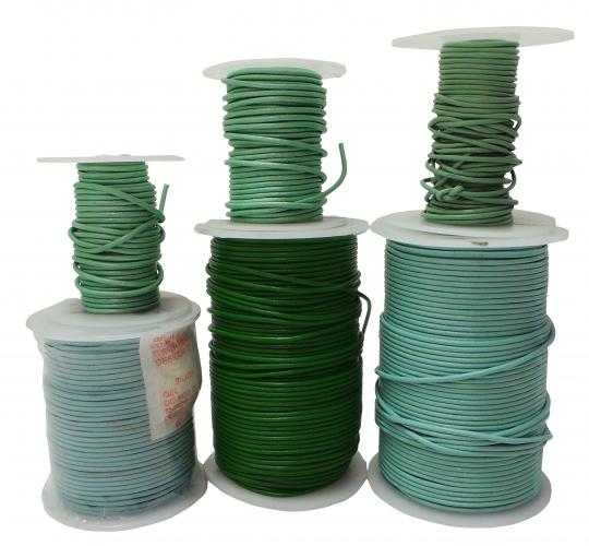 Joblot of 295m of Mixed Blue & Green Round Real Leather Cords 1.5/2mm Wide