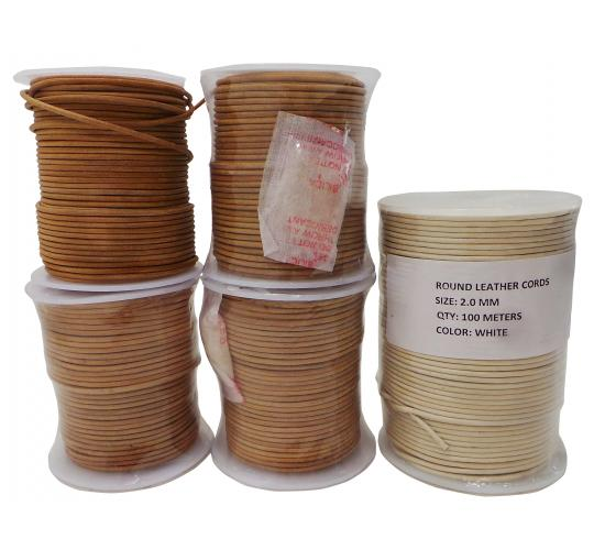 Joblot of 300m of Natural/White High Quality Round Real Leather Cords 2mm Wide