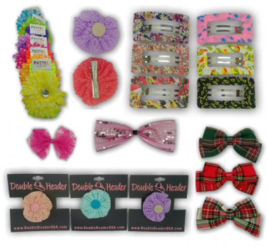 Wholesale Joblot of Girls Hair Head Clips & Bows Accessories Multi Styles Assorted Colours - 100 Pieces