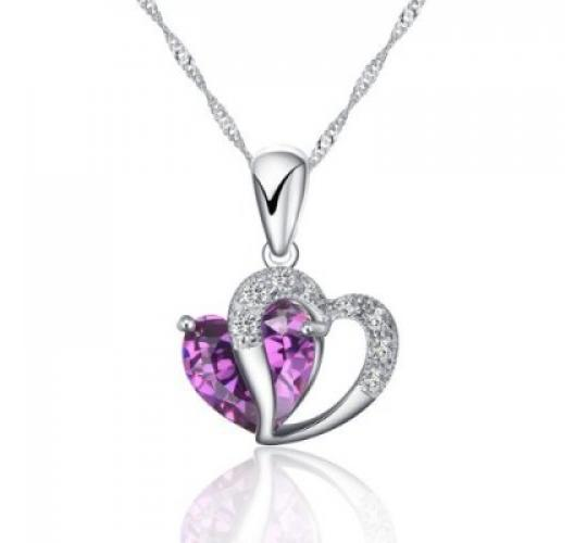 Heart Shape Pendant Necklace Including Singapore Chain '18 inch