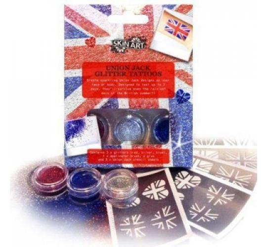 Joblot 18 Union Jack Stick-on Tattoo Kit with Stencils Glitter & Glue