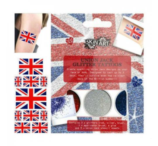 Wholesale Joblot of 60 Union Jack Stick-on Tattoo Kits with Stencils Glitter & Glue