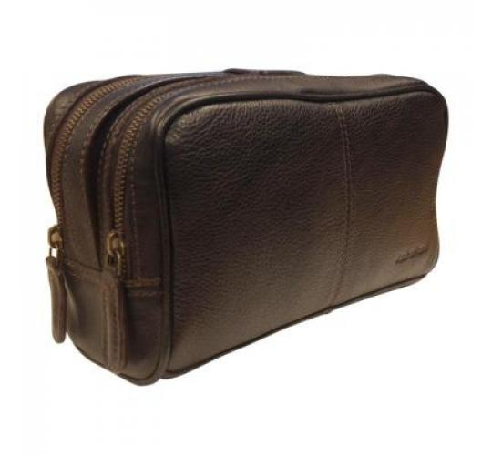 AsdruMark Dark Brown Compact Leather Wash Bag