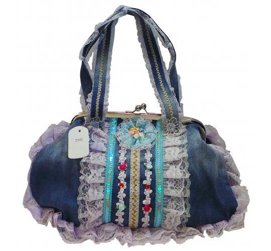 Wholesale Joblot of 20 Ladies Decorative Blue Denim Floral Handbags