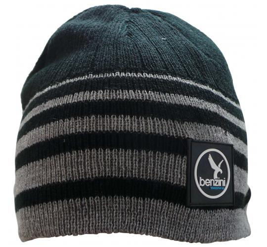 Wholesale Joblot of 20 Mens Benzini Rubber Badge Beanie Hats Black/Grey Stripe