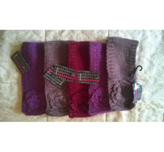 Joblot of 5 Flower detail Knit Headband with Lurex