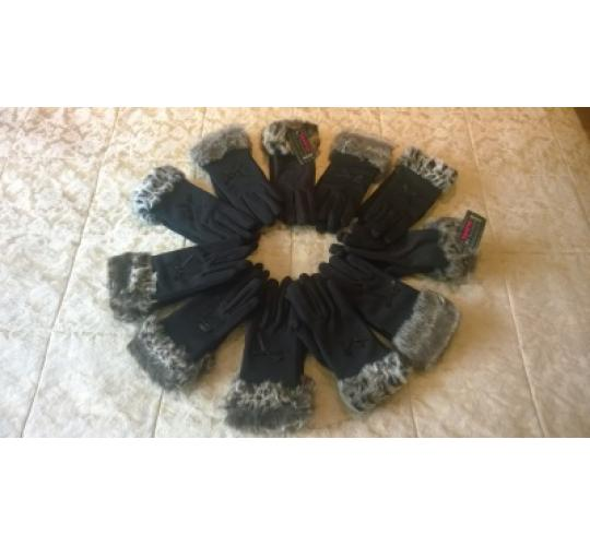Joblot of 11 X Women's Black Gloves with Faux Fur Cuff