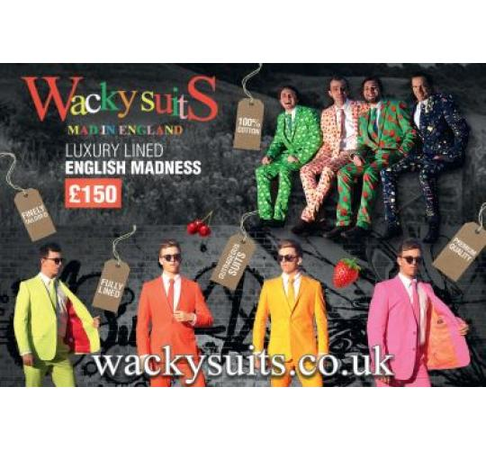 MEN'S SUITS - Superb Quality - 100% Cotton Lined Tailored Superior Wacky Suits Medium Large and X Large