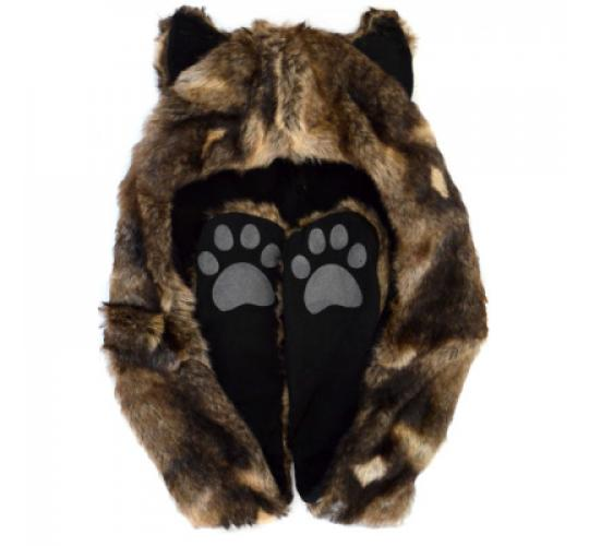 Wholesale Wolf Animal Hoodie Faux Fur Hat Scarf Gloves With Ears- Clearance Sale - Must go!