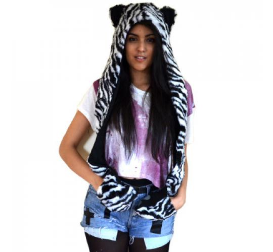 Wholesale Mixed Animal Hoodie Faux Fur Hat Scarf Gloves With Ears- Clearance Sale - Must go!