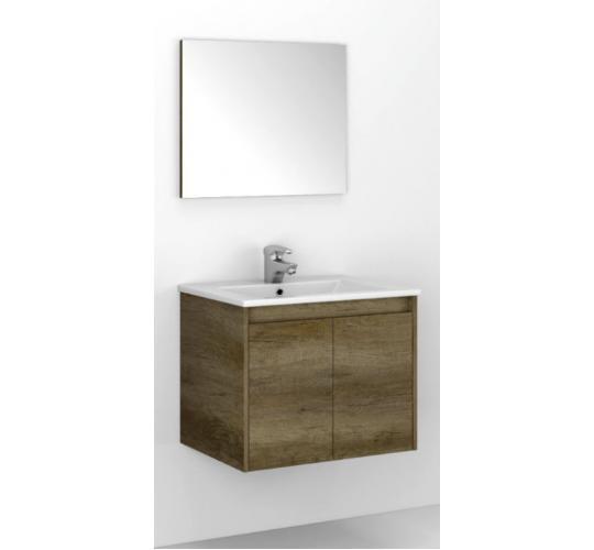 Dark Oak - Wall Hung Bathroom Vanity Units with Mirror and Sink - Pallet with extra sinks