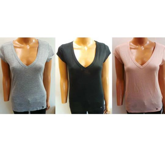 One Off Joblot of 30 Amy Gee Ladies V-Neck T-Shirts 3 Colours Sizes XS-XL
