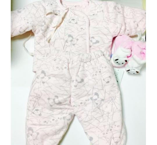 Baby Winter Outfits Blue and Pink. Three Piece Winter Outfits with Jackets, Trousers and Booties