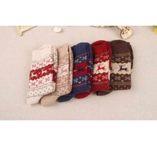 5 x 5 Pairs of Reindeer design socks