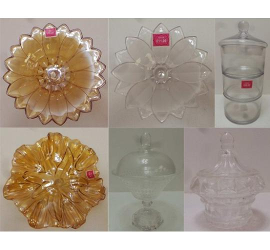 One Off Joblot of 18 Madame Posh Mixed Glassware - Fruit Bowls & Bon Bon Vases