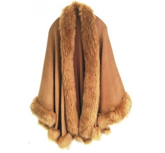 LARGE FAUX FUR CAMEL CAPE