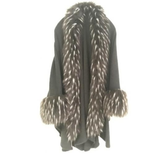 BLACK FAUX FUR WRAP/COAT