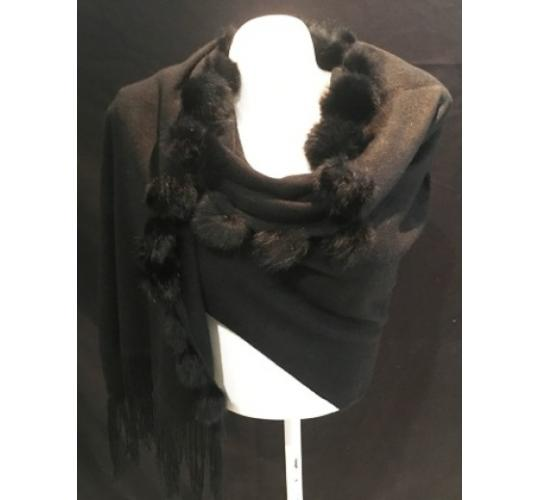 BLACK SCARF/WRAP WITH RABBIT FUR POMPOMS