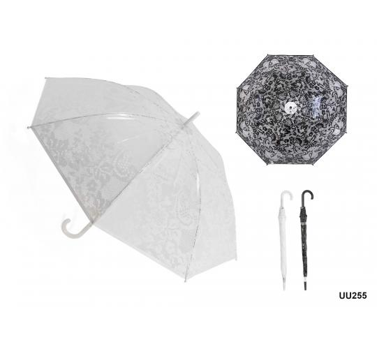 Wholesale Joblot Of 48 Lace Print Dome Umbrellas In Black and White