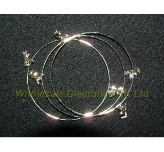 WHOLESALE JOBLOT OF 20 LADIES GENUINE PLAYBOY SILVER BANGLE WITH BUNNY HEAD
