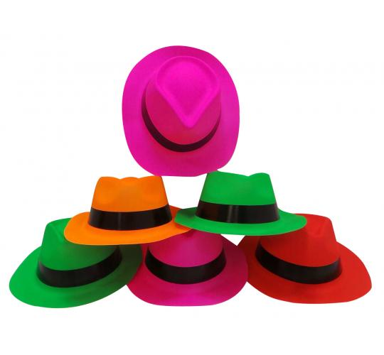 Wholesale Joblot of 240 (10 Packs of 24) Dazzling Toys Neon Gangster Hats D002
