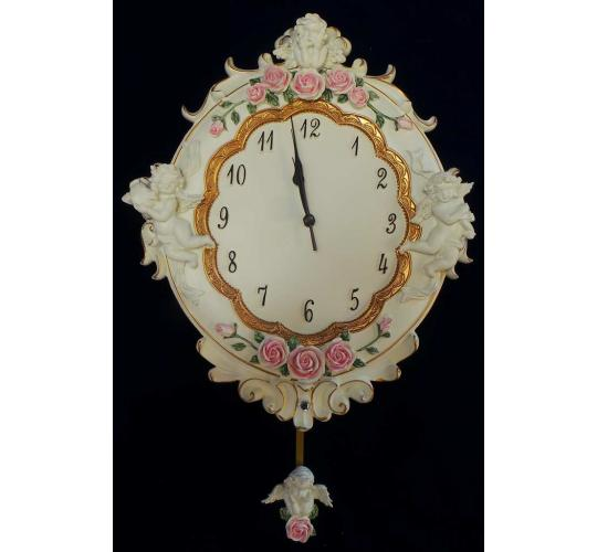 One Off Joblot of 9 Madame Posh Floral Cherub Hanging Wall Clocks