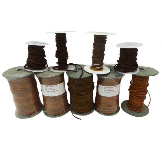 Joblot of 485m of Brown High Quality Real Suede Leather Cords 4mm Wide