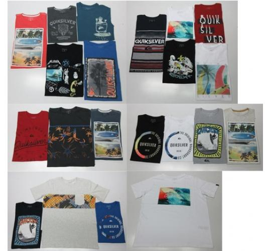 Wholesale Joblot of 50 Quiksilver Boys T-Shirts Assorted Styles & Colours