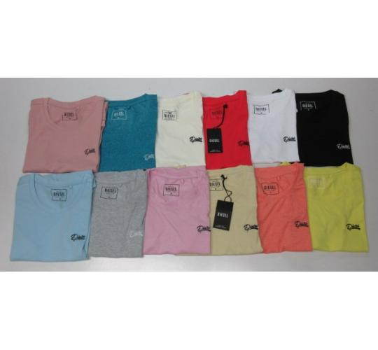 One Off Joblot of 150 Diesel Ladies Short Sleeve Logo T-Shirts Mixed Colours
