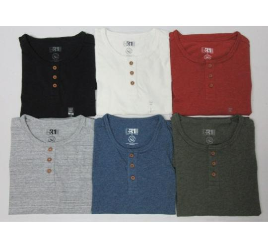 Wholesale Joblot of 50 LE 31/DJAB Mens Henley Neck T-Shirts Mixed Styles