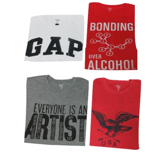Wholesale Joblot of 50 Gap Mens T-Shirts 4 Styles & Colours XS-XL