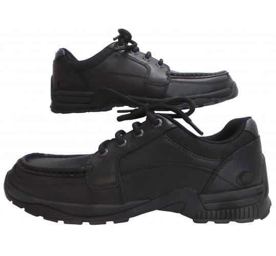 One Off Joblot of 12 Rhino Unisex 'Dylan' Black Leather Shoes Sizes 4-10