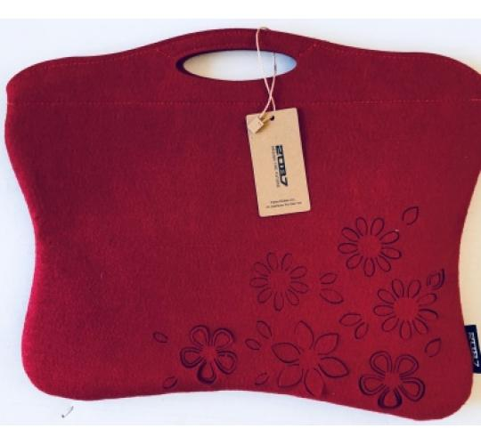 24 zipped ladies red felt handbags, also will take iPads up to 10.5 inch/27cm