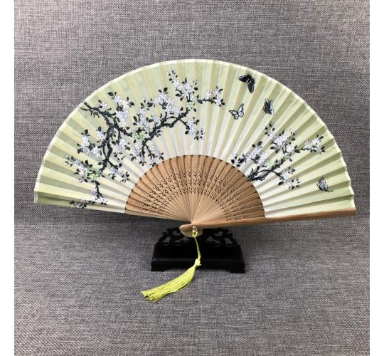 100 of Bamboo Silk Fans, foldable,High Quality, Floral Design,