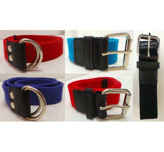 Wholesale Joblot of 100 Boys Canvas Belts Assorted Colours