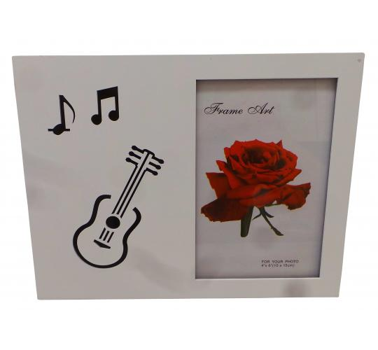 "Wholesale Joblot of 20 Musical Guitar White Photo Frames 4"" x 6"""