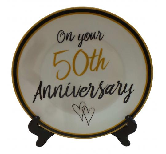 Wholesale Joblot of 20 50th Wedding Anniversary Ceramic Plates With Stand