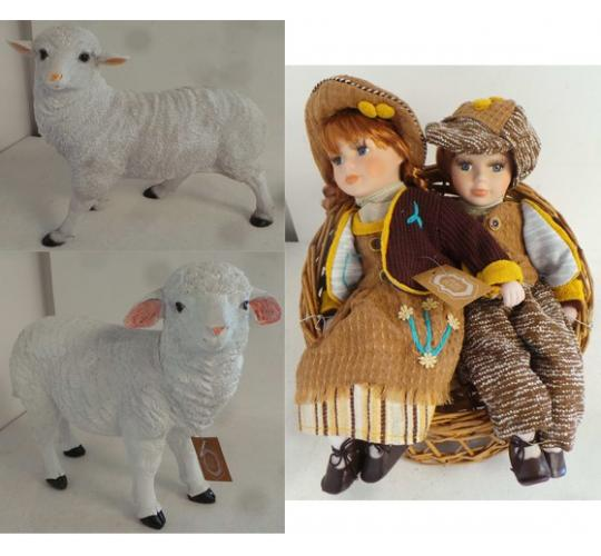 One Off Joblot of 3 Madame Posh Sheep Figurines & 1 Porcelain Doll Set