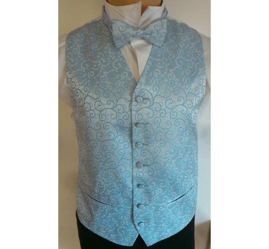 Wholesale Joblot of 10 Mens Blue Swirl Waistcoats With Matching Accessories
