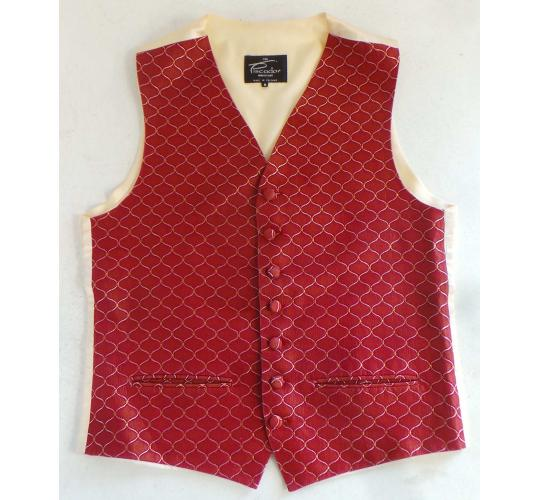 One Off Joblot of 11 Mens & Boys Gold Link on Red Waistcoats Mixed Sizes