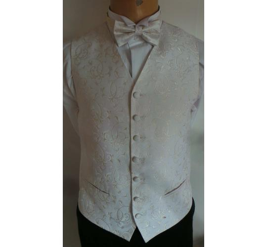 One Off Joblot of 18 Boys Ivory Swirl on White Waistcoats With Accessories