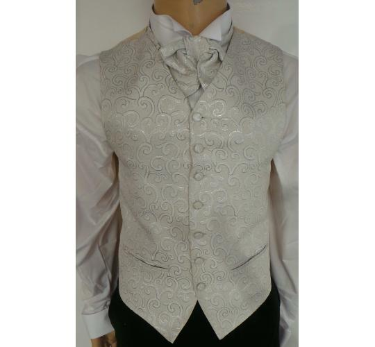 One Off Joblot of 16 Mens Silver Swirl Waistcoats With Accessories M-2XL