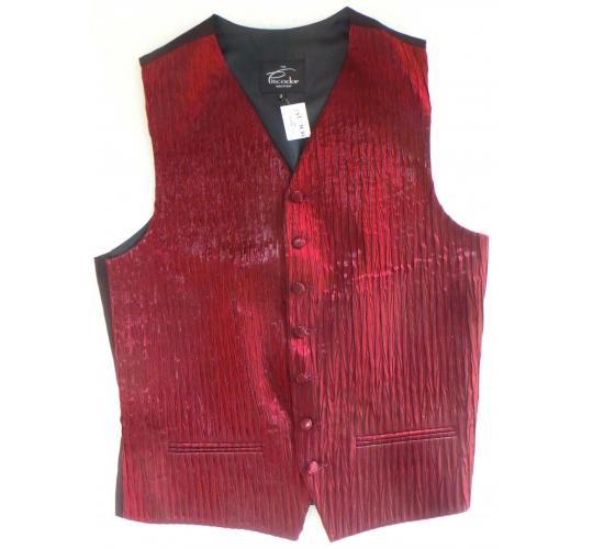 One Off Joblot of 10 Mens Burgundy Two-Tone Layered Waistcoats With Accessories