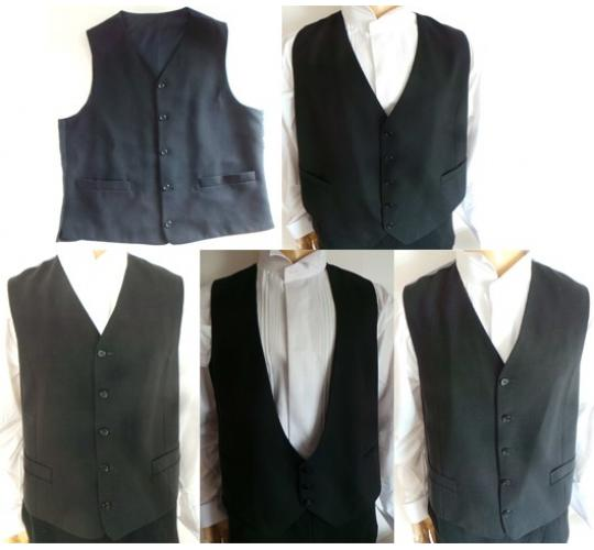 One Off Joblot of 8 Mens Grey, Black & Navy Waistcoats Various Styles & Sizes