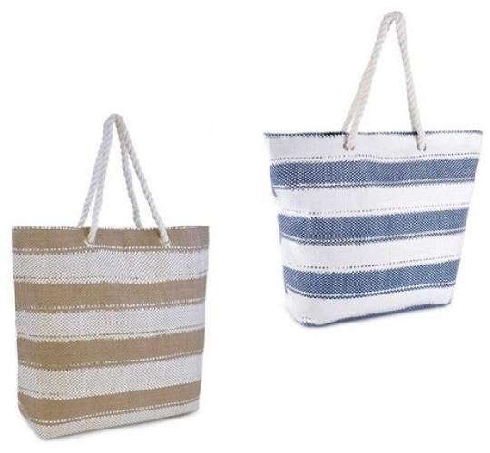 Wholesale Joblot of 24 Striped Cottonstraw Bags With Glitter Thread BB0967