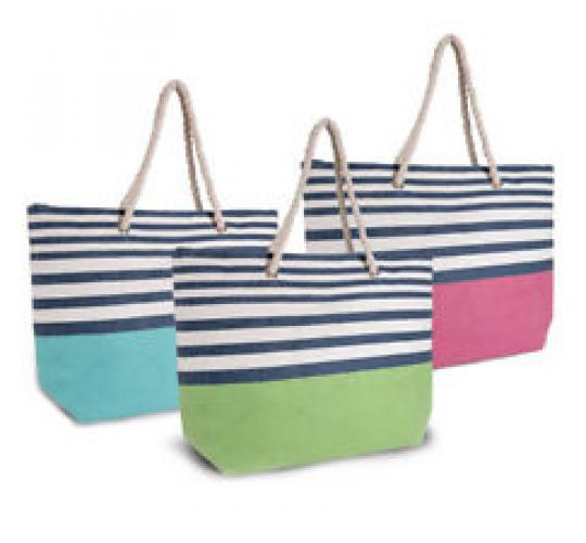 Wholesale Joblot of 36 Striped Paper Straw Bags With Rope Handle BB0897B
