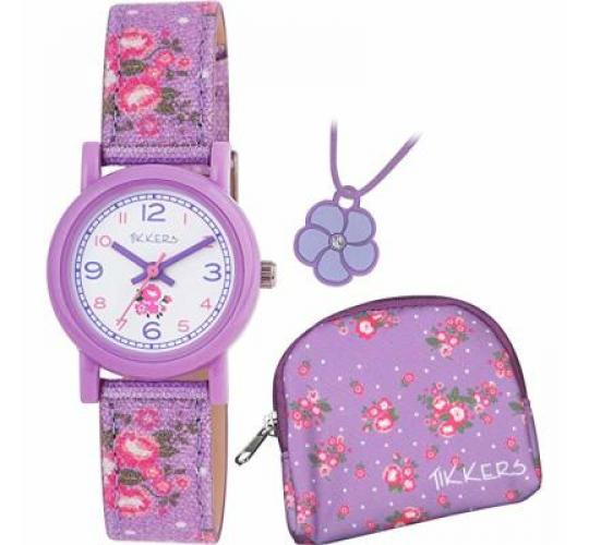 Tikkers Floral Watch Gift Set Boxed - Purple