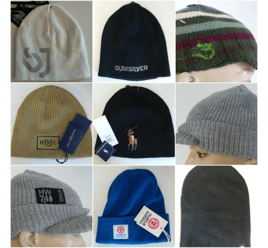 One Off Joblot of 20 Mens/Kids Branded Beanie Hats Mixed Brands & Styles