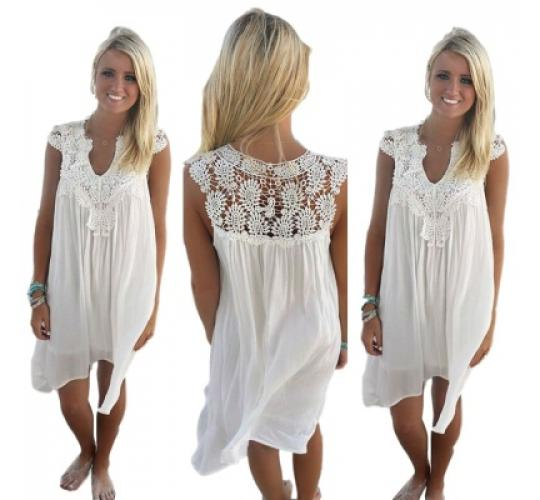Ladies Floral Pattern Crochet Dress